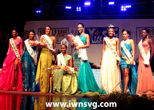 Miss SVG 2013, Shara George, and the seven other contestant after the crowning at Victoria Park.