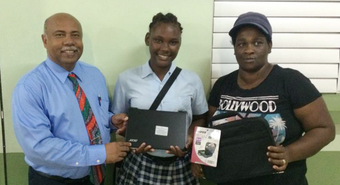 Clotesha Alexander was the second student to receive a laptop. (Photo: Camillo Gonsalves/Facebook)