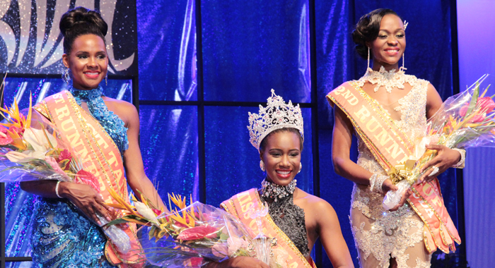 Miss Carival 2014, Miss Dominica Francine Baron, and First Runner-up Miss St. Kitts and Nevis Kaeve Armstrong and Second Runner-up Miss Antigua and Barbuda Raynel Carroll. (IWN photo)