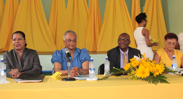 "Opposition Leader Arnhim Eustace and other member of the panel at his party's ""Conversation with Women"" on Monday. (IWN photo)"